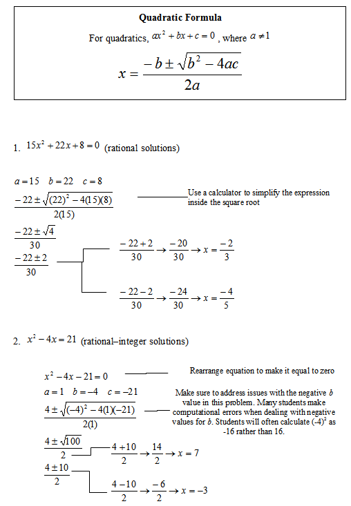 Solving Quadratic Equations By The Quadratic Formula Sas